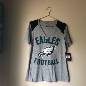 NFL Team Apparel- EAGLES V-neck Gray & Black Tee